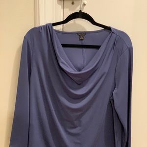 Slate blue drape neck top